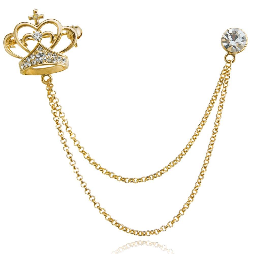 DMI Unique Jewelry Rhinestone Beautiful Crown Shape Chain Brooch pin Gold-Tone