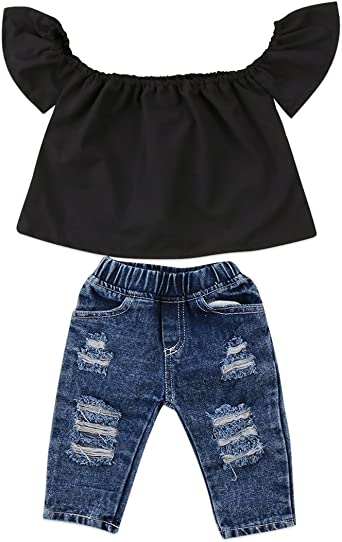 Toddler Baby Girls Clothes Off Shoulder Ruffle T-Shirt Top Pant Outfit Set