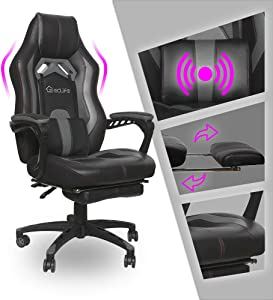 Video Gaming Chair Racing Recliner - Ergonomic Adjustable Padded Armrest Swivel High Back Footrest with Headrest Lumbar Support Leather Breathable Bucket Seat Home Office Massage(Black & Grey)