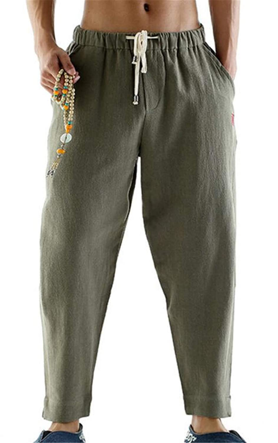 Pivaconis Mens Plus Size Style Loose Fit Solid Color Chinese Linen Harem Pants