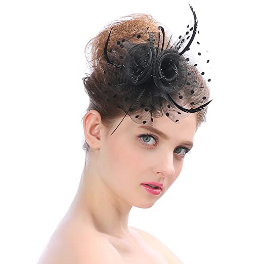Lusiyu Womens Feather Mesh Net Sinamay Fascinator Hat with Hair Clip Tea  Party Derby (Black 76bfc635fbb8