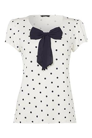 96fbd14d83f64e Roman Women's Spotty Polka Dot Bow Jersey Top Navy Size 22: Amazon ...