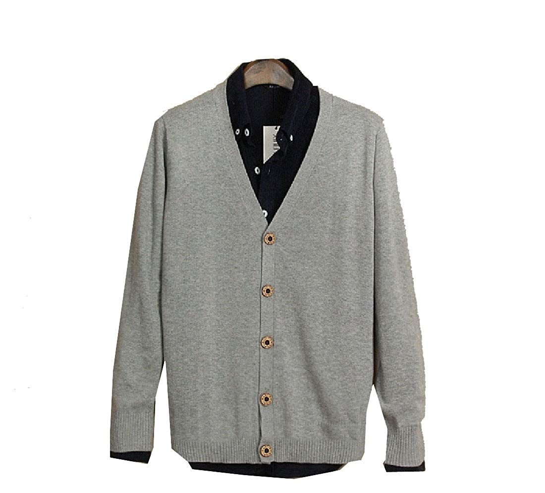 YKeen Men Fall Winter Causal Knitting Button Down Solid-Colored Cardigan