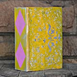 Wedding Guest Book or Photo Album ~ Geometric Yellow and Silver Metallic Leaf Album