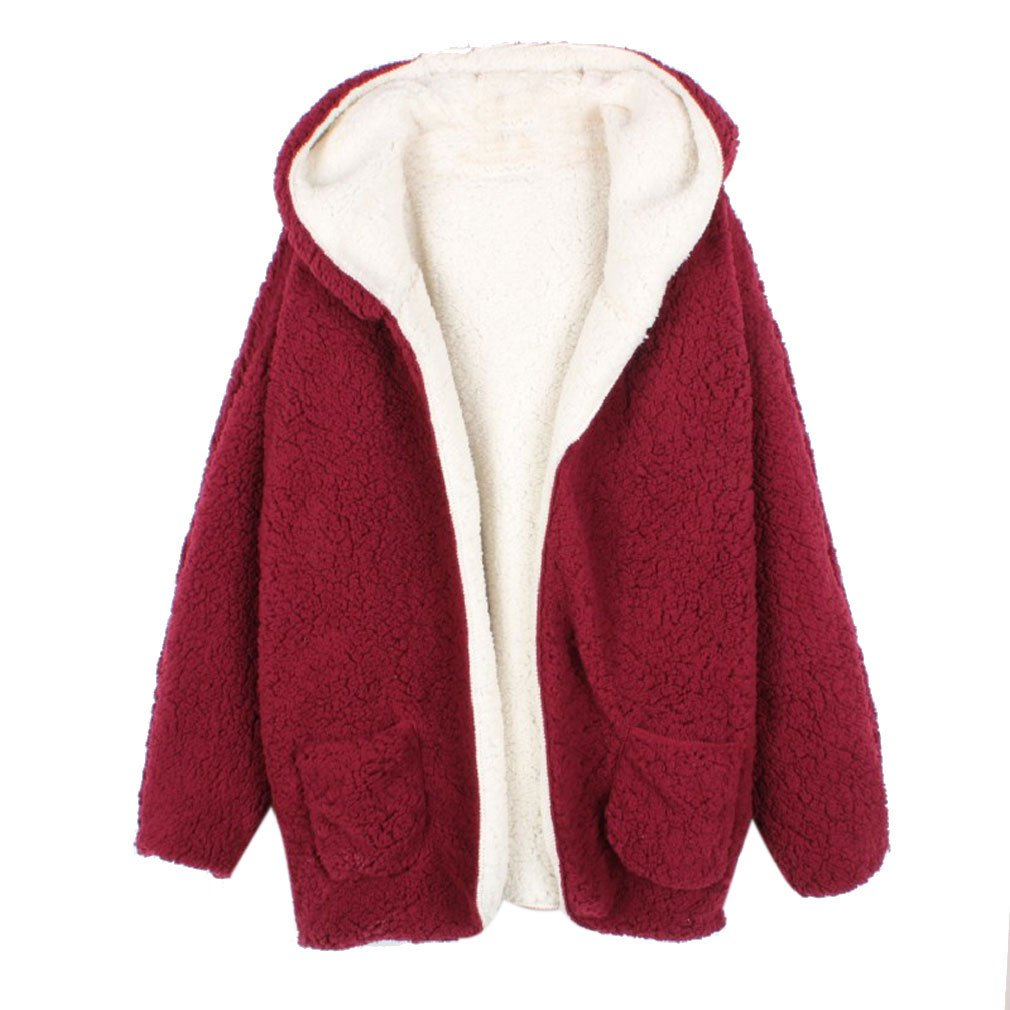 East Castle Women's Long Sleeve Cozy Fit hoodie Buttonless Cardigan Tops W-089 (One Size/US 18W, Wine)