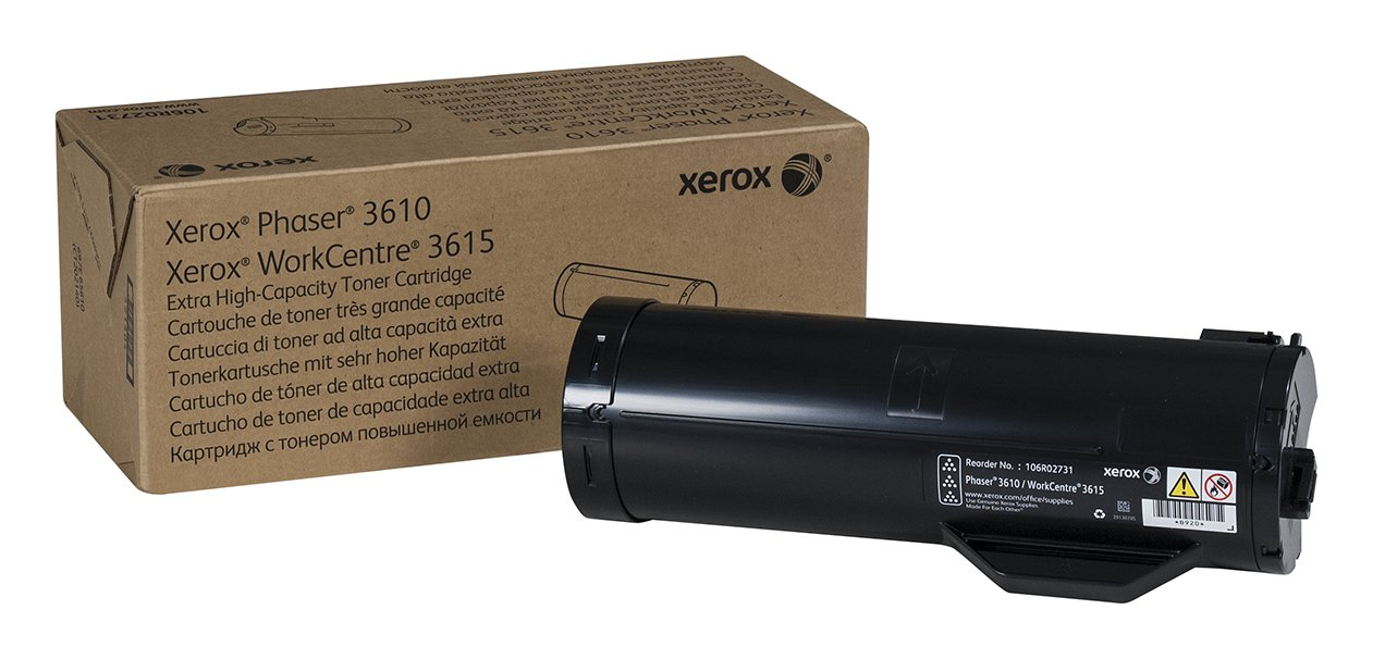 Genuine Xerox Extra High Capacity Black Toner Cartridge for the Phaser 3610 or WorkCentre 3615, 106R02731
