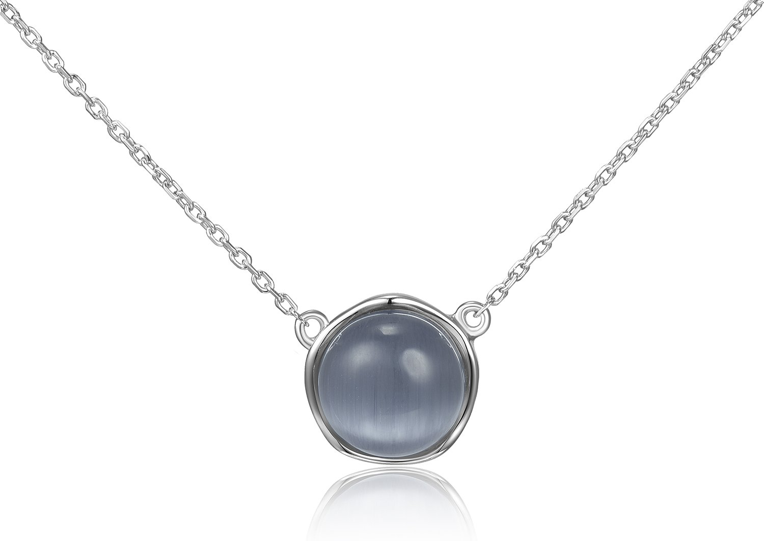 Lanfeny Rhodium Plated 925 Sterling Silver Pendant Necklace with Blue Grey Ball Simulated Cat's Eye Solitaire