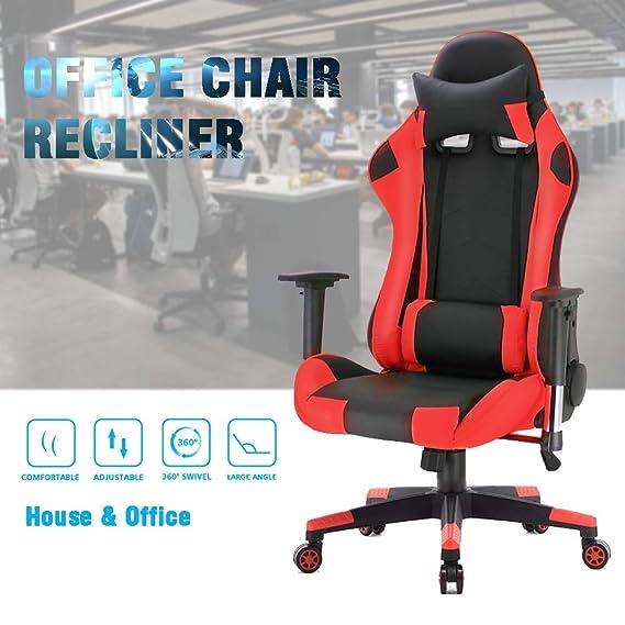 joolihome Racing Gaming Style Silla de Oficina giratoria de Cuero de Poliuretano Función de inclinación y Bloqueo de sillón reclinable Silla ejecutiva de ...