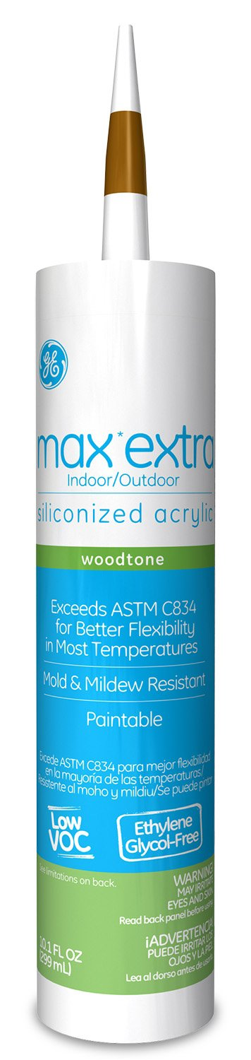 new General Electric GE22640 Max Extra Wood Tone Siliconized Acrylic Caulk, 10.1-Ounce