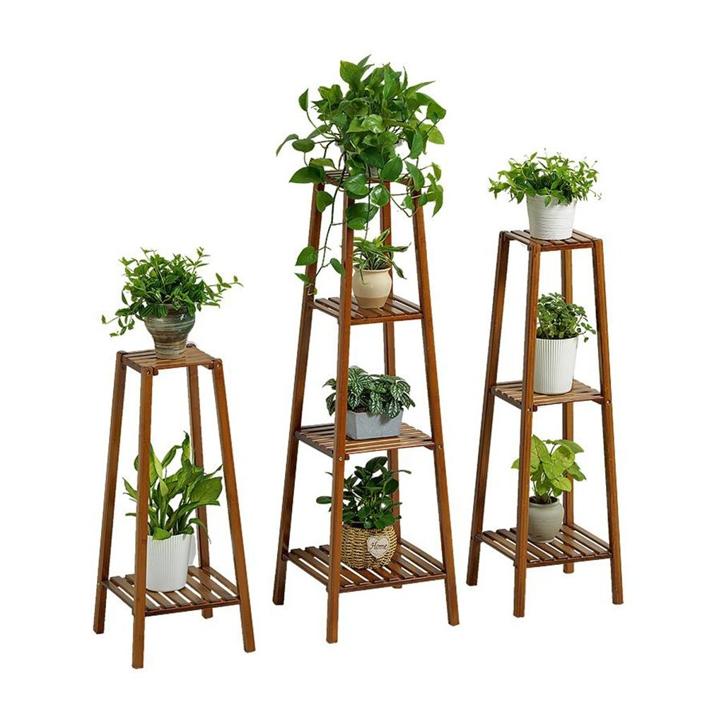 Creativity Upright Wooden Flower Stand Plant Frame Balcony Shelving Multi-tier Floor-standing Potted Display Rack Bamboo Indoor Outdoor (2-tier, 3-tier, 4-tier) (Style : 2-tier) Myhj-Flower stand
