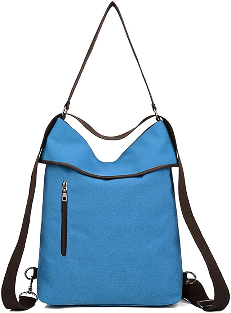 TUAOAO Women Multifunction Shoulder Bag Canvas Backpack Purse Crossbody Casual Travel Daypack