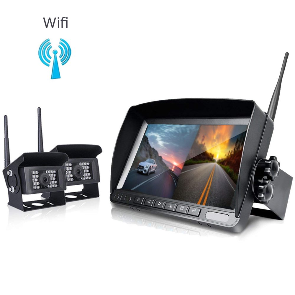 Digital Wireless Backup Kamera System Kit-camecho IP68  Wasserdicht 2  Kabellose Kamera + 17, 8  cm LCD Wireless Rü ckfahrkamera Monitor fü r Bus/LKW/Wohnwagen//Wohnmobil/Boot/-Auflieger/Horse-Trail