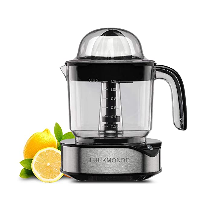 Electric Citrus Juicer 1.2L Large Volume with Two Cones,Durable Stainless Steel Squeezer, Quiet Powerful Motor For Fresh Orange Lemon with LED light by LUUKMONDE