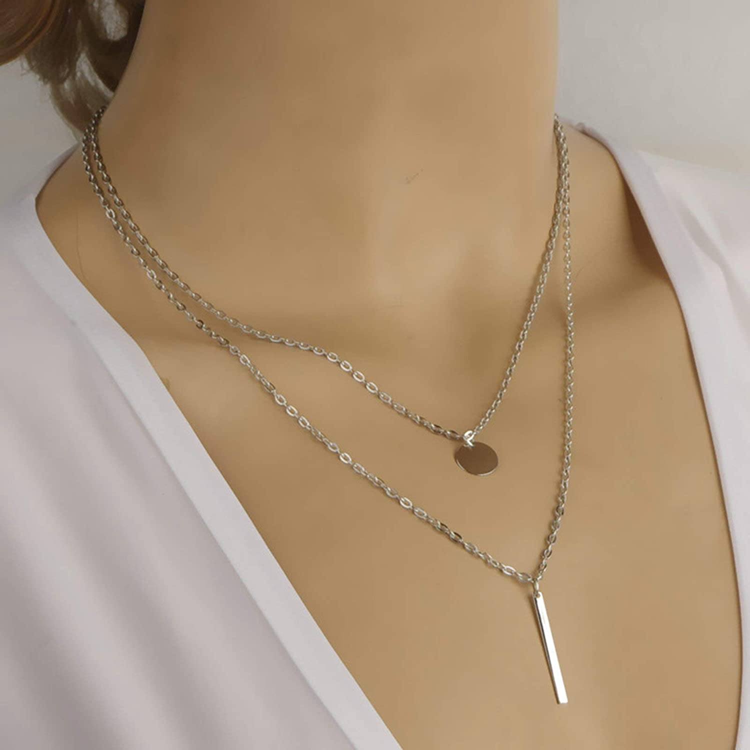 Epinki Silver Plated 2 Layered Necklace Silver Rectangular Column Round Tag Chain Necklace for Women and Girls