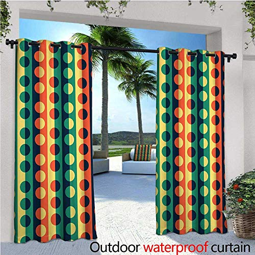 - Geometric Circle Outdoor Privacy Curtain for Pergola Pop Art Style Vertical Striped Half-Pattern Ring Forms Retro Poster Print Thermal Insulated Water Repellent Drape for Balcony W96