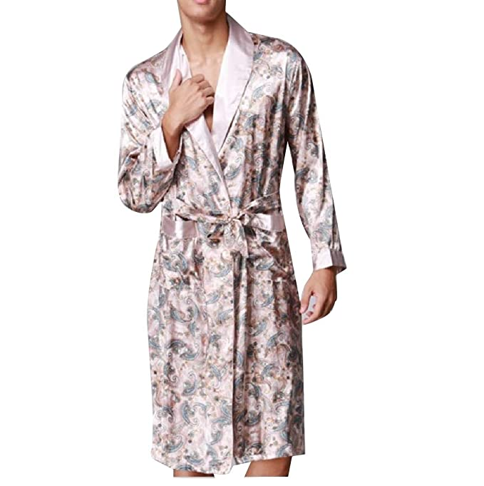 39e94e1131 YUNY Men s Bathrobe Robe Home Satin Print Woven Full Slips Sleepwear at  Amazon Men s Clothing store