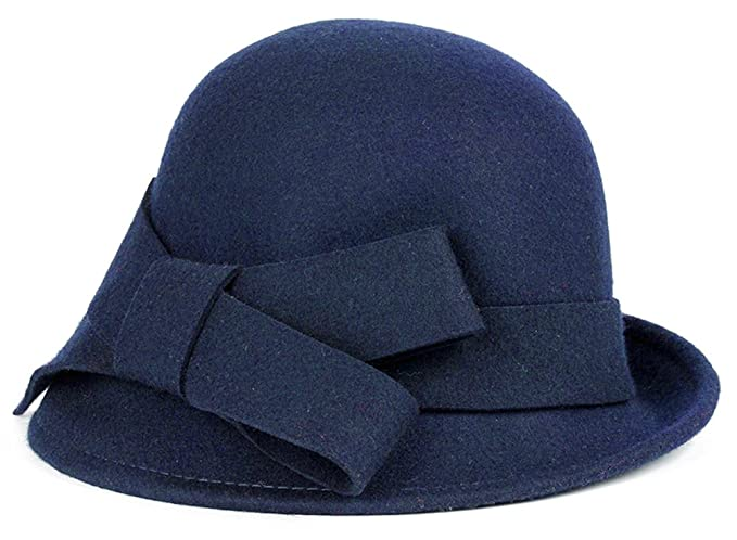 1940s Dresses and Clothing UK | 40s Shoes UK Bellady Women Solid Color Winter Hat 100% Wool Cloche Bucket with Bow Accent £23.72 AT vintagedancer.com