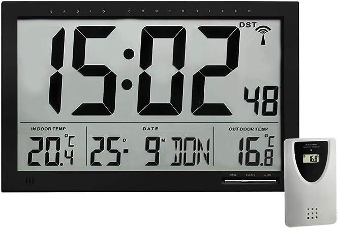 TFA 60.4510.01 Reloj Digital de Pared Negro con termómetro y ...