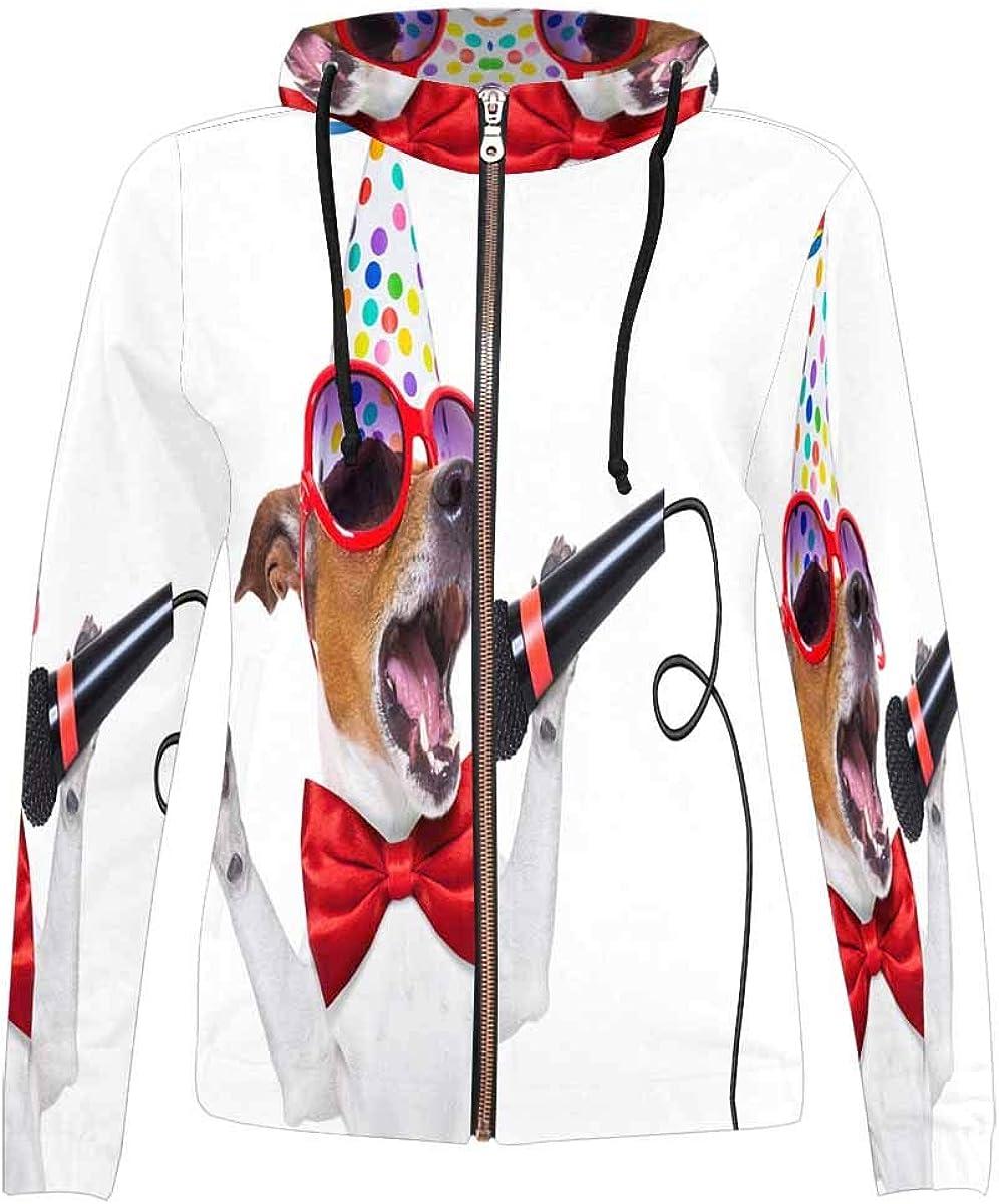 INTERESTPRINT Womens Singing Dog Full-Zip Hooded Jacket XS