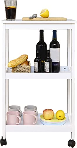 NOZE 3-Tier Kitchen Rolling Microwave Cart Storage Organizer