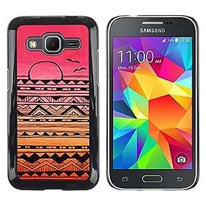 TopCaseStore / la caja del caucho duro de la cubierta de protección de la piel - American Pattern Pink Sunset - Samsung Galaxy Core Prime SM-G360