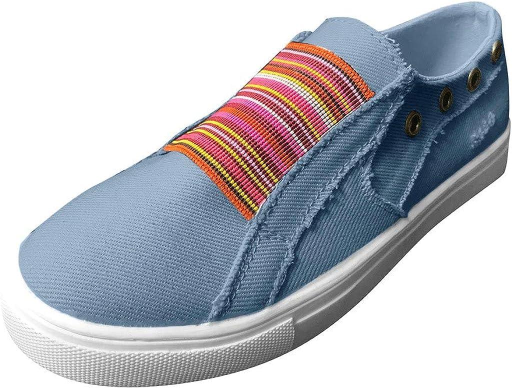 Qiran - Zapatos para mujer de verano con fondo plano, color mixto, casuales, para barco, estilo vintage, zapatos planos, color Azul, talla 40 EU