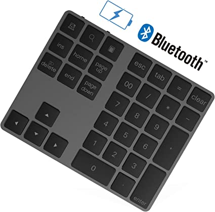 Rytaki Teclado numérico Bluetooth con múltiples accesos directos de 34 Teclas Teclado numérico Delgado inalámbrico portátil para iP ad/M ac/Laptop/PC ...