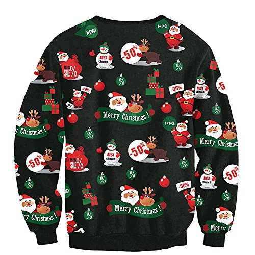 unisex loose festive holiday ugly christmas print pullover jumper sweater top m black
