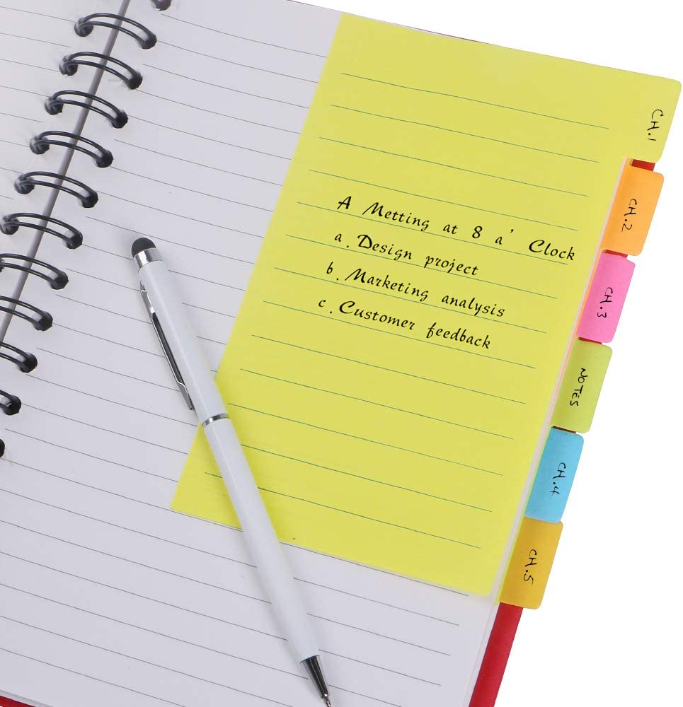 Eagle Divider Sticky Notes 90 Sheets 4 x 6 Inches Assorted Neon Colors Pack of 1 90 Ruled Notes