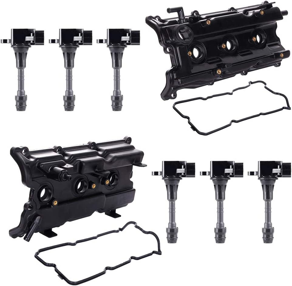 LSAILON Engine Valve Cover with Gaskets Compatible with 2002-2008 Maxima Replace 224338J11C Ignition Coil Pack Set of 6