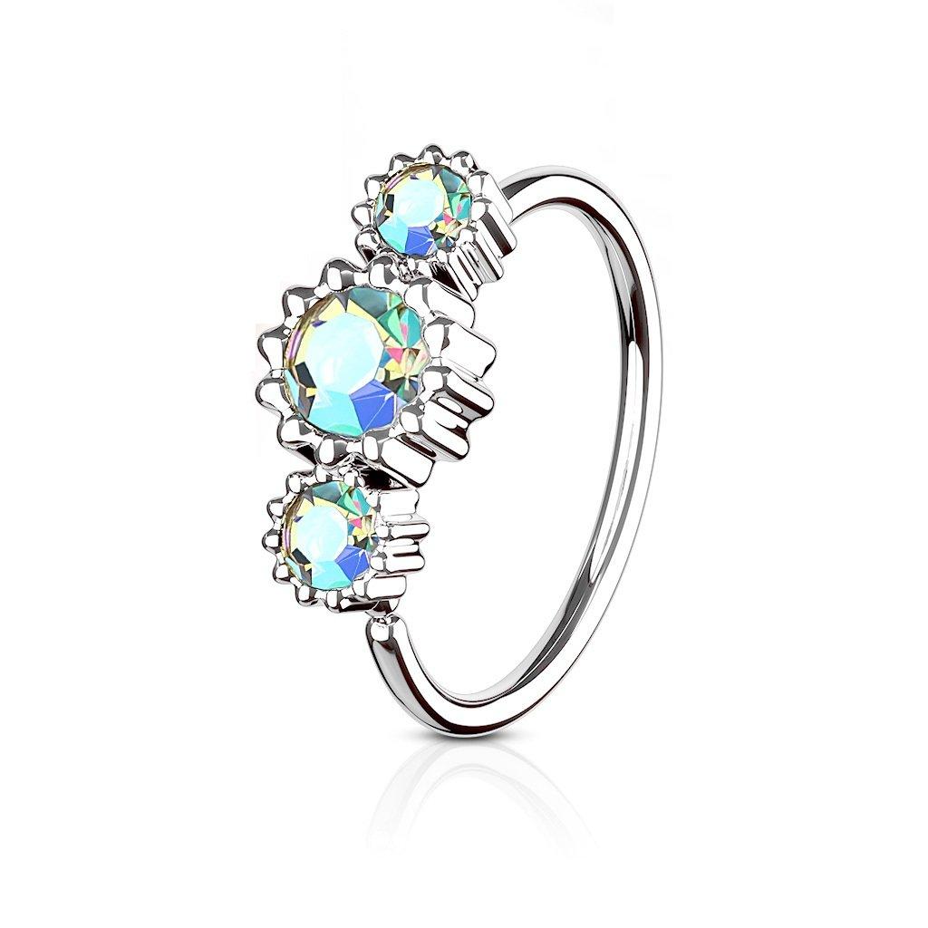 Sold by Piece Floral Round with Gems IP 316L Surgical Steel WildKlass Septum Clicker