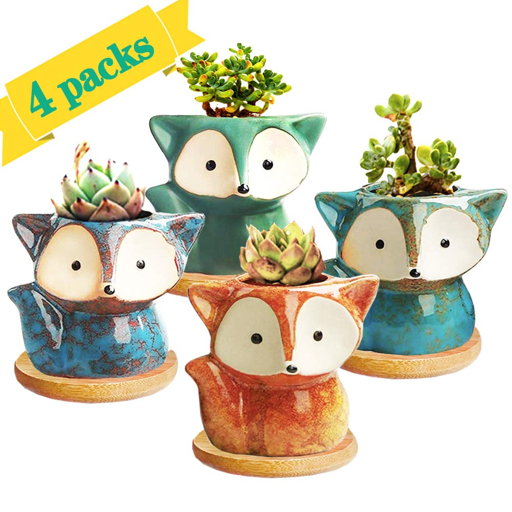 Succulent Pot, Mini Flower Pot Ceramic Succulent Planter for Small Plant, 4 Pack