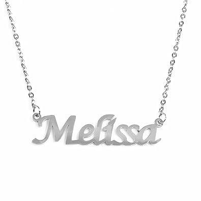 6d62a030d7fb9 Amazon.com: Kigu Melissa Name Necklace - Silver Tone: Jewelry