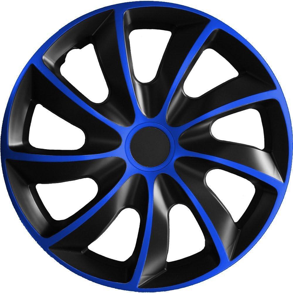 passend f/ür fast alle Fahrzeugtypen universal verschiedene Gr/ö/ßen Schwarz-Blau 14 Zoll Radkappe // Radzierblende 1 St/ück Quad Bicolor