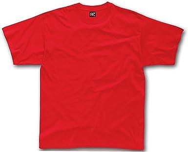 SG - Camiseta básica de Manga Corta Unisex 100% algodón Grueso Niños Niñas - Verano/Calor (5-6 Años) (Rojo): Amazon.es: Ropa y accesorios