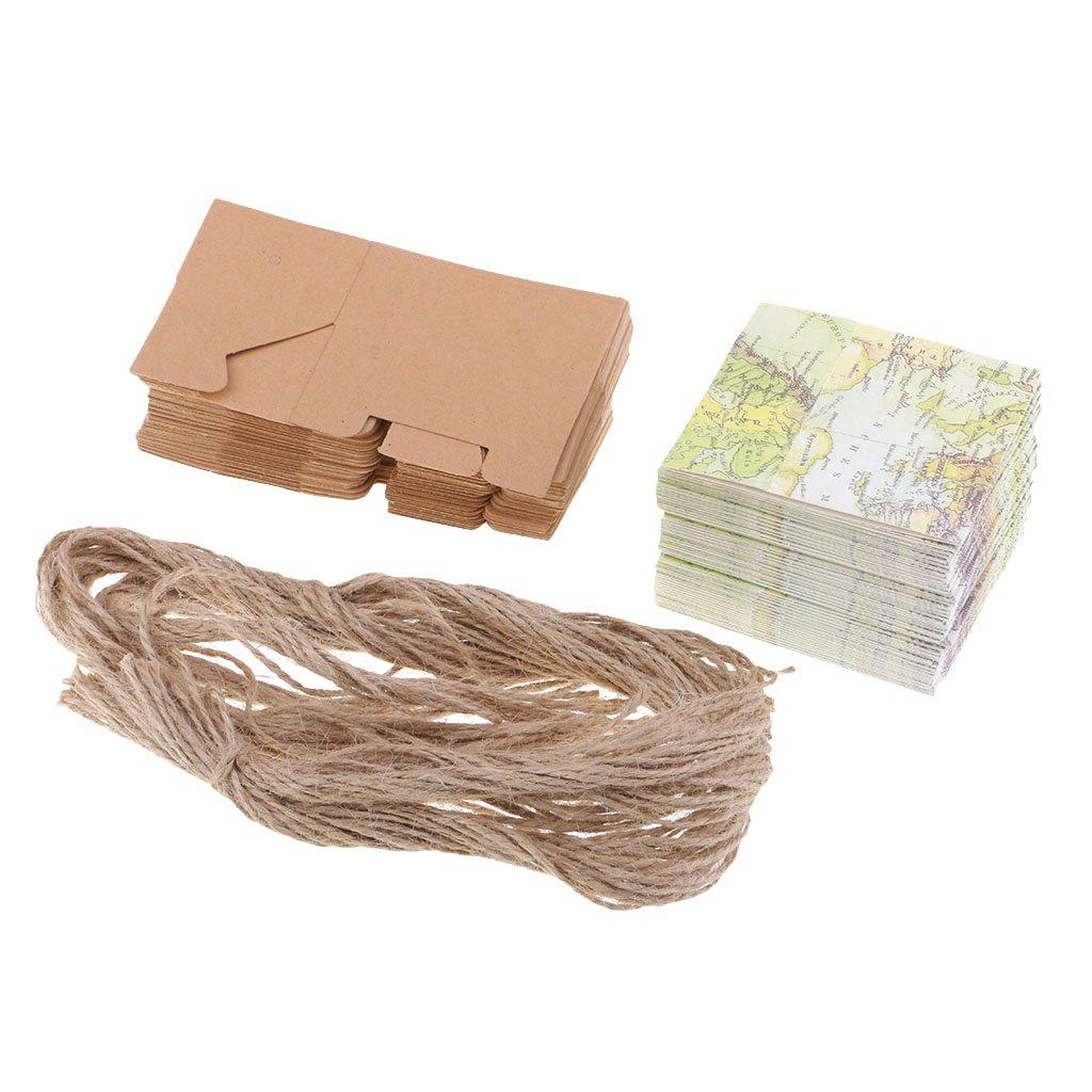 Homyl 50Pcs Travel Theme World Map Drawer Candy Box Wedding Favors Gift Boxes