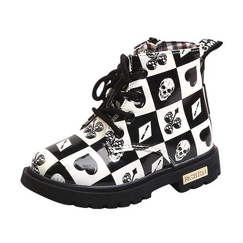 Botas Cuero para Unisex Niños Niñas Otoño Invierno 2018 Moda PAOLIAN Botines  Estampado Calaveras Zapatos de Vestir Bebé Plano Calzado de Cordones Suela  ... e76a343722e