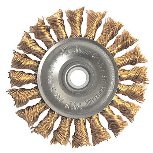Weiler 8271 Standard Twist Knot Wire Wheel, 3'', 0.20'' Bronze Fill, 1/2''-3/8'' Arbor Hole (Pack of 10) by Weiler