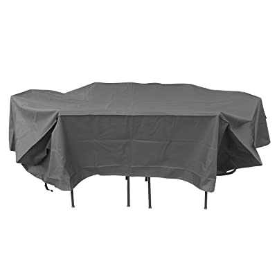 Duraviva Rectangular/Oval Patio Table and Chair Set Weatherproof Cover - Waterproof, UV Resistant - Large (110 x 85 inches): Kitchen & Dining