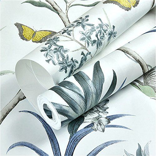 Chinoiserie Wallpaper Bedroom Wall Covering Pink Floral Wallpaper Blue Tropical Butterfly Birds Flower Wall Paper WP44303 Blue 10mx53cm