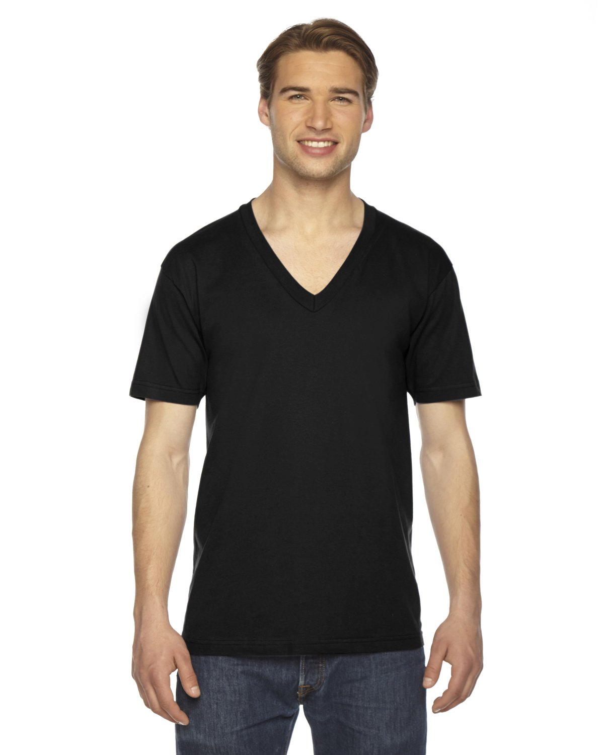 American Apparel 2456W Unisex Fine Jersey Short-Sleeve V-Neck T-Shirt Black 2XL
