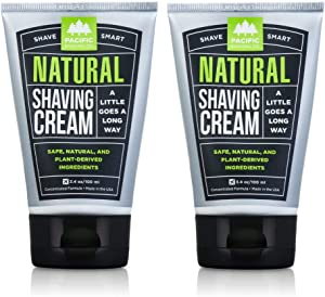 Pacific Shaving Company Natural Shaving Cream - Safe, Natural, and Plant-Derived Ingredients for a Smooth Shave, Softer Skin, Less Irritation, Cruelty Free, TSA Friendly, Made in USA, 3.4 oz (2-Pack)