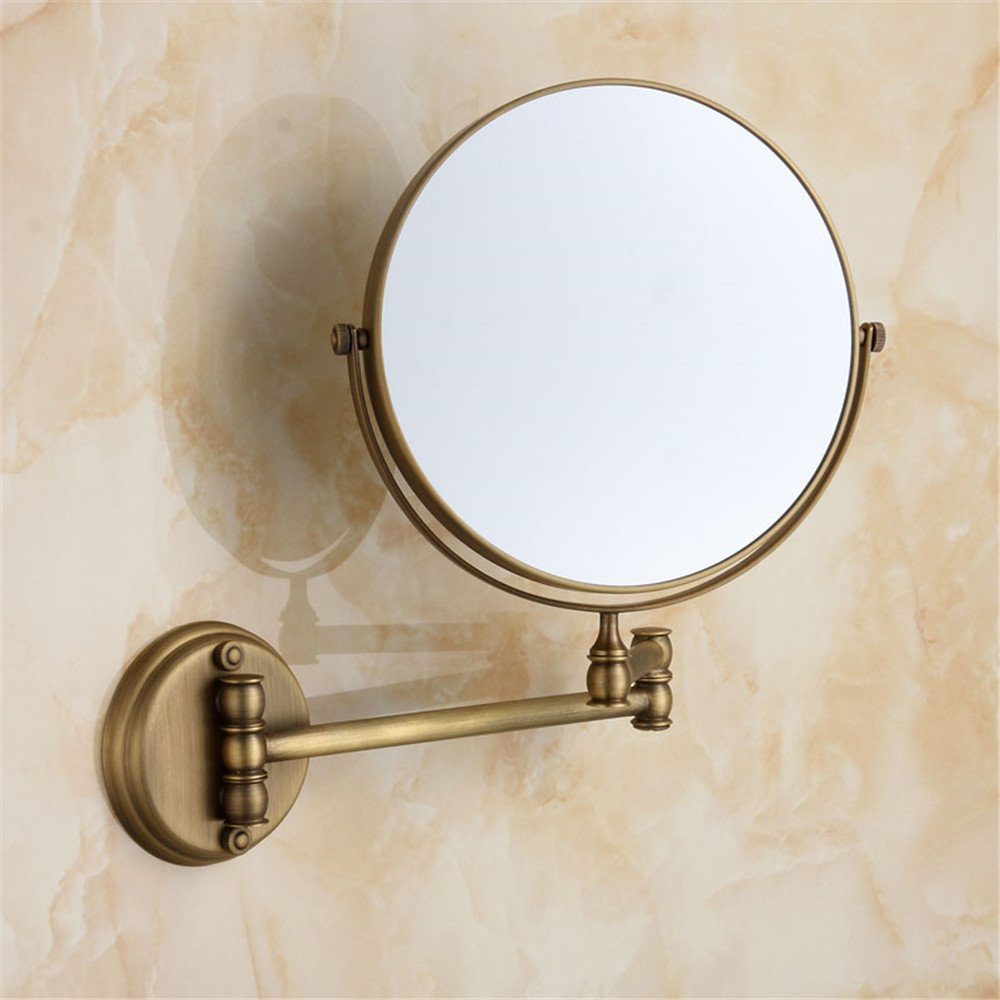 Leyden TM Antique Brass Wall Mount 3x Magnifying Adjustable Folder Make up Mirror Dual Sides Mirror