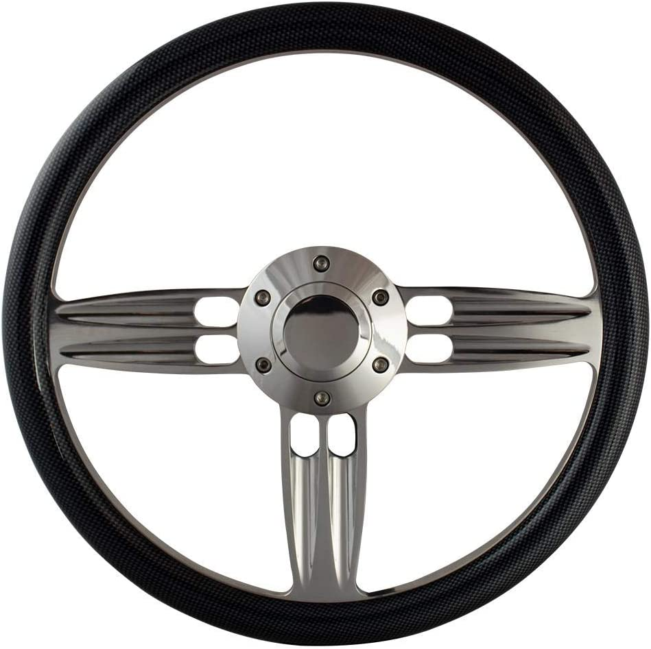 14 Inch Polished Aluminum Shotgun Steering Wheel Carbon Fiber Vinyl//GMC Retro