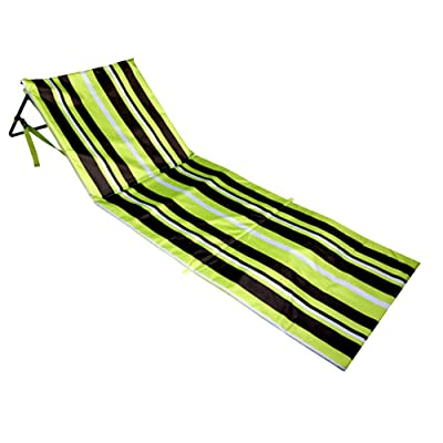 Bo-Toys Extra Thick Portable Beach Mat Lounge Chair and Tote (Green Stripes) : Garden & Outdoor [5Bkhe0804119]