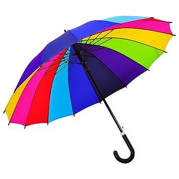 Straight Rainbow Umbrella Ambrellaok 16 Rib Windproof Waterproof And Anti Uv Auto