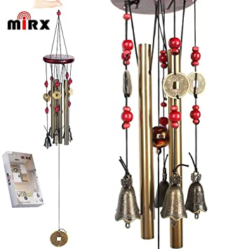 Wind Chimes MIRX Bronze Metal Wind Chimes 4 Tubes 5 Bells Woodstock 60cm  Pure Handmade Wind Chimes Outdoor Indoor for Garden and Home, With Magical