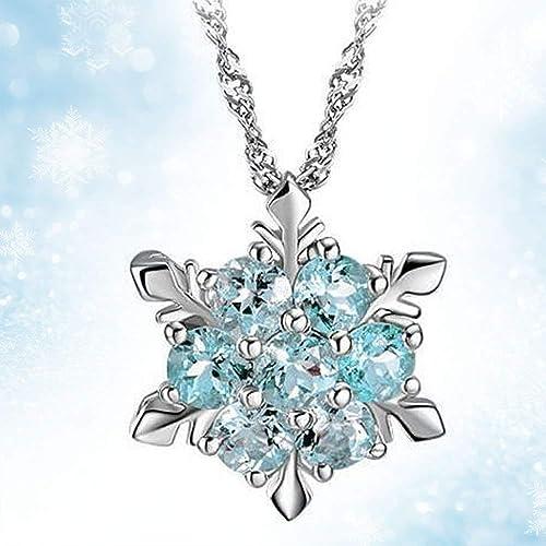 Frozen Elsa Snowflake Pendant Necklace silver jewel