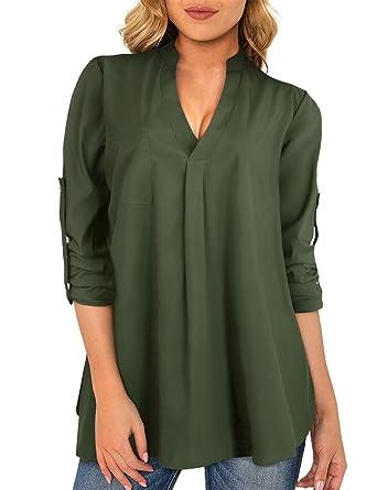 Acheter Authentic magasins d'usine choisir le plus récent ISASSY Chic Chemise Femme Manches Longues 3/4 Fluide Col V Chemisier  Tunique Noir/Blanc/Vert Foncé