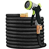 HYRIXDIRECT 50ft Garden Hose Expandable Water Hose Lightweight with Metal 8 Function Spray Nozzle Double Latex Core 3/4